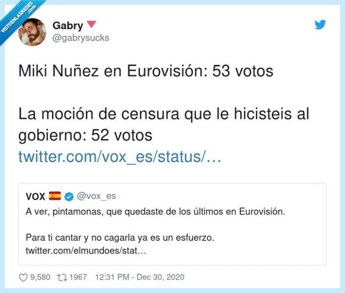 eurovisión,Miki nuñez,moción de censura,vox