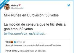Enlace a VOX se burla de Miki Núñez por cagarla en Eurovisión, y menudo zasca se llevan