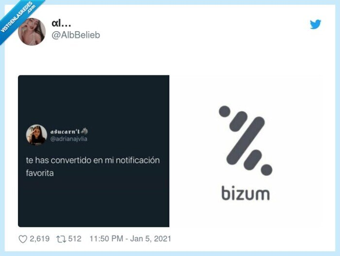 bizum,notificaación