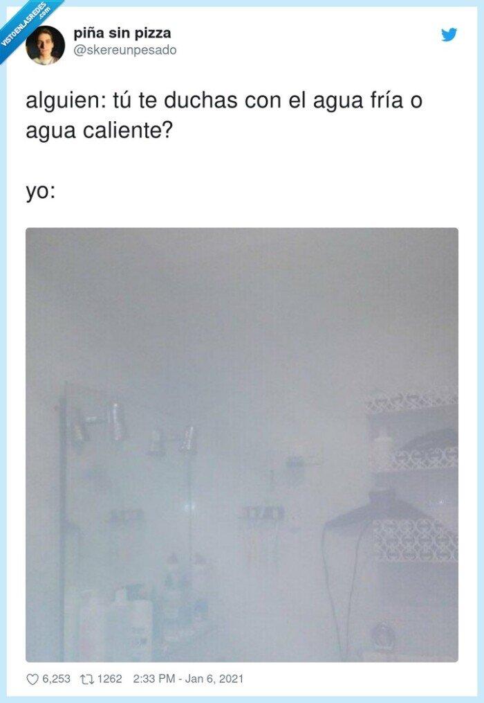 agua,alguien,caliente,duchas,fría