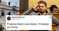 Enlace a A Rufián le bastan dos fotos para sacar los colores a EEUU