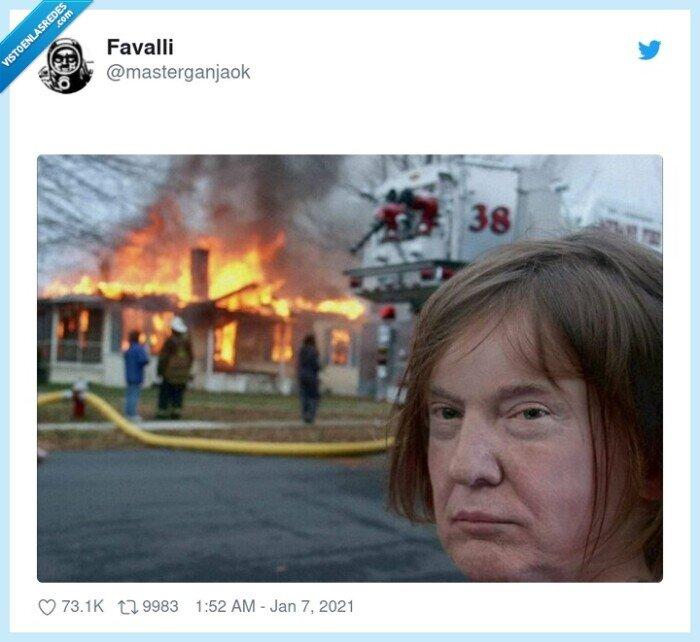 destrozo,donald trump,fuego
