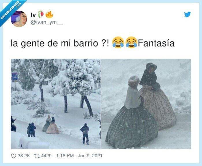 fantasía,filomena,nevada,nieve,vestidos