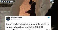 Enlace a Brutal: Crean un iglú en Madrid y lo ponen a la venta en idealista con estas imágenes, por @alfonso_simon