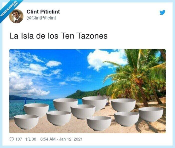 diez,isla,tazones,tentaciones