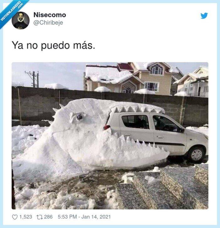 coche,dinousario,nieve