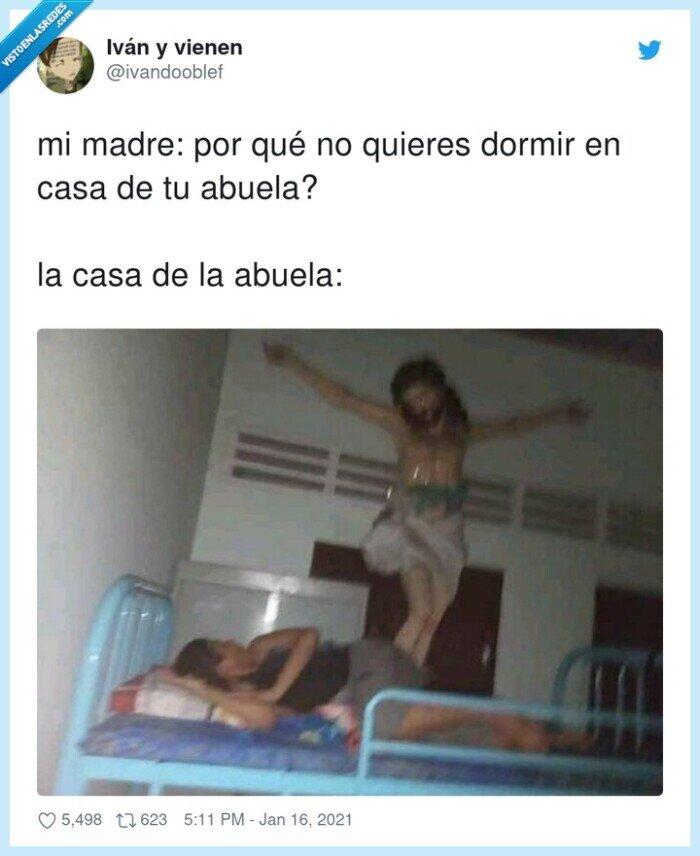 abuela,cama,casa,dormir,jesucristo