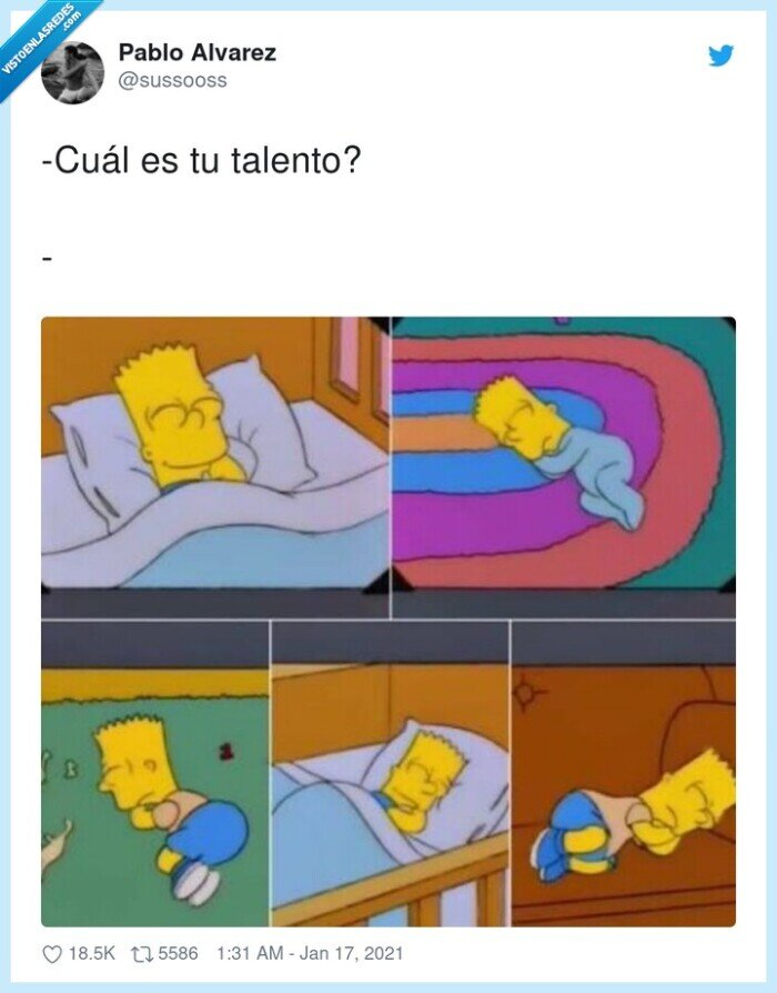 bart simpson,dormir,talento