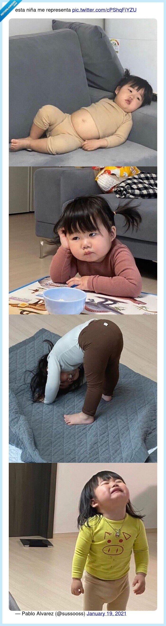 asiática,cansada,niña,representar,vaga