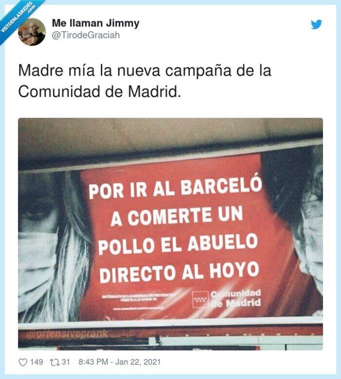 campaña,comunidad,coronavirus,madrid,pollo,teatro barceló