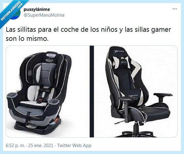 coche,gamer,niño,silla