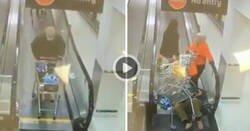 Enlace a Un señor se cae en la cinta mecánica y provoca una reacción en cadena con la gente de detrás, por @CarlWinslou