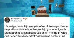 Enlace a Cuando no puedes celebrar tu cumpleaños por el confinamiento y tus amigos te sorprenden en Minecraft, por @hdelosrios2
