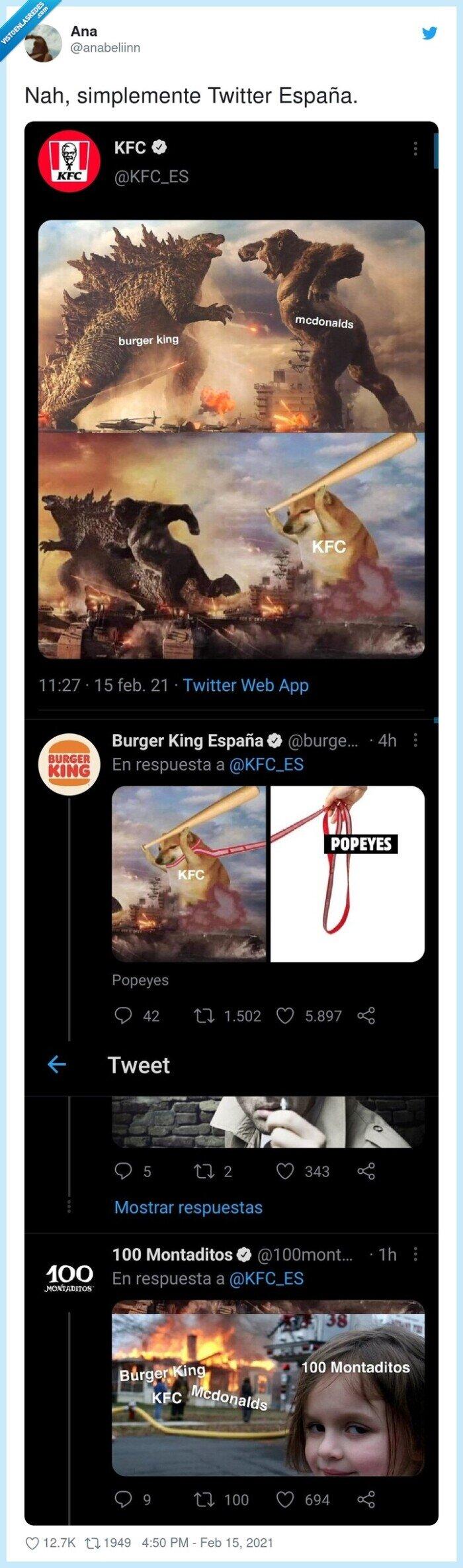 815227 - La lucha en Twitter entre las cadenas de fastfood la ha ganado 100 montaditos, por @anabeliinn