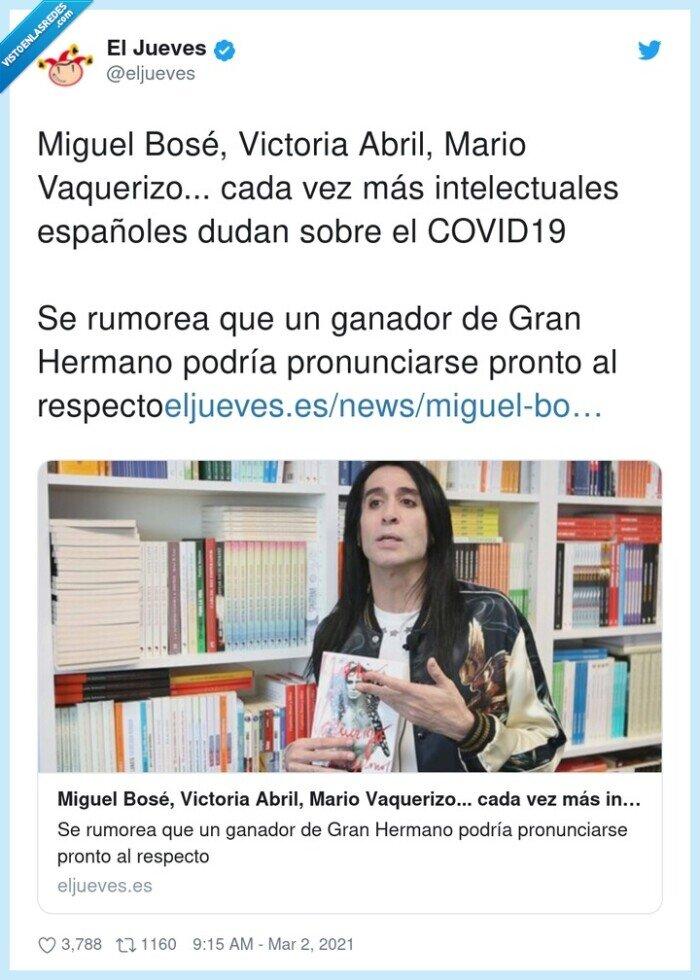 españoles,intelectuales,miguel bosé,pronunciarse,vaquerizo,victoria abril