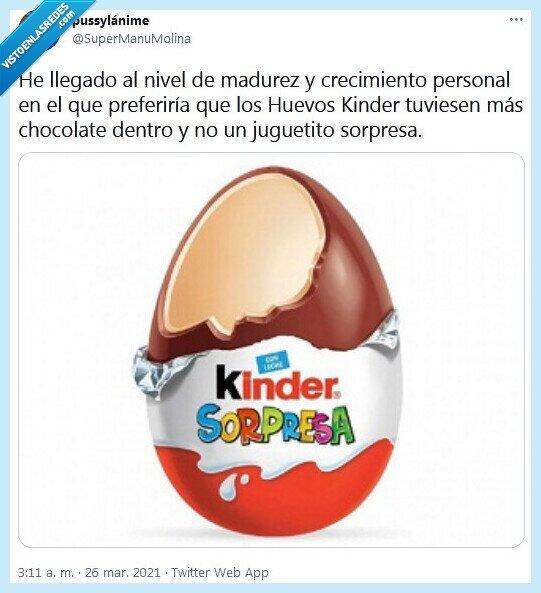 chocolate,huevos kinder,madurez,sorpresa