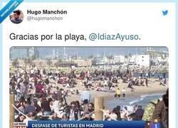 Enlace a TVE publica unas imágenes en las que por lo que parece Madrid tiene playa
