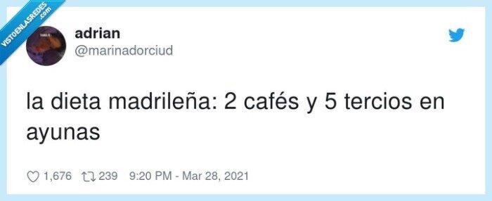 ayunas,cafés,dieta madrileña,tercios