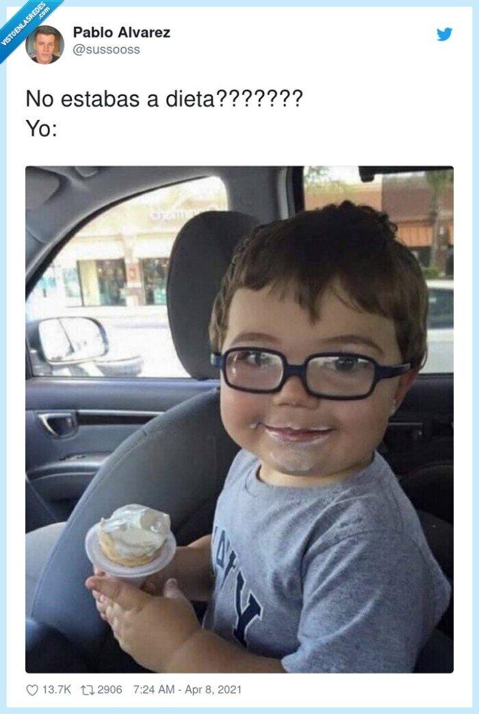 comer,dieta,helado,niño