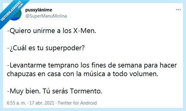 chapuzas,música,superpoder,tormento,volumen,x men