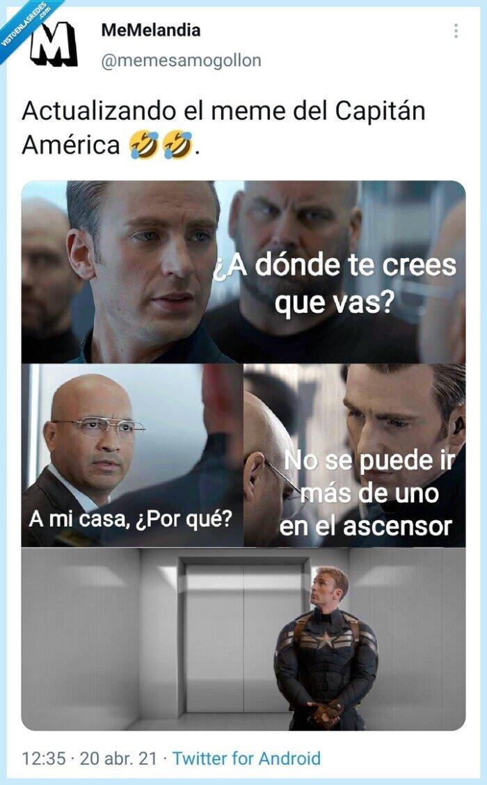ascensor,Capitán América,coroanvirus,distancia social