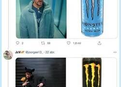 Enlace a Bad Bunny como latas de Monster, la cosa ya se ha ido totalmente de madre, por @joorgee13_
