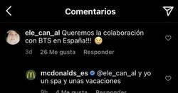 Enlace a El CM de McDonald's está harto que los fans de BTS le pidan colaboración con el grupo coreano, y acaba contestando free-style, por @oriongles