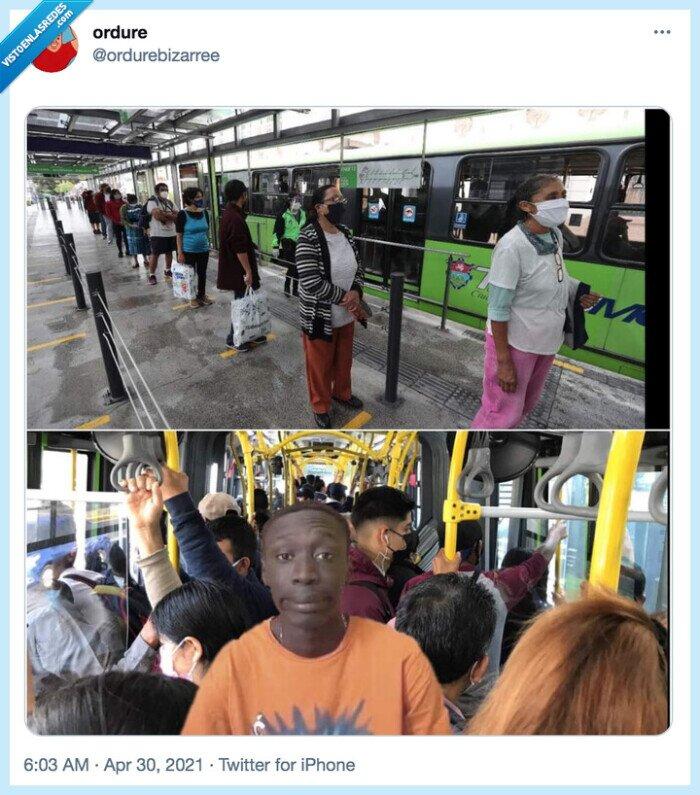 bus,distancia social,soy fan de este tío,transporte público