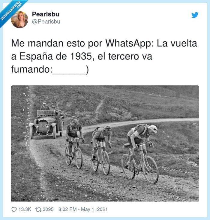 ciclistas,españa,fumando,vuelta ciclista