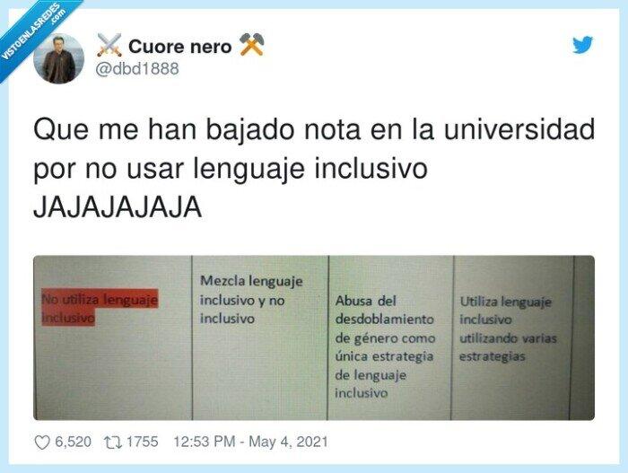 bajar,jajajajaja,lenguaje inclusivo,nota,universidad