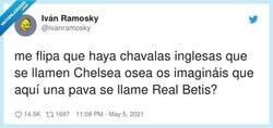 Enlace a Chelsea es el barrio. En Sevilla hay niñas que se llaman Triana así que raro, pero ocurre, por @ivanramosky