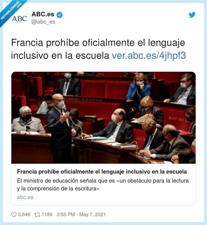 escuela,francia,lenguaje inclusivo,oficialmente,prohíbe