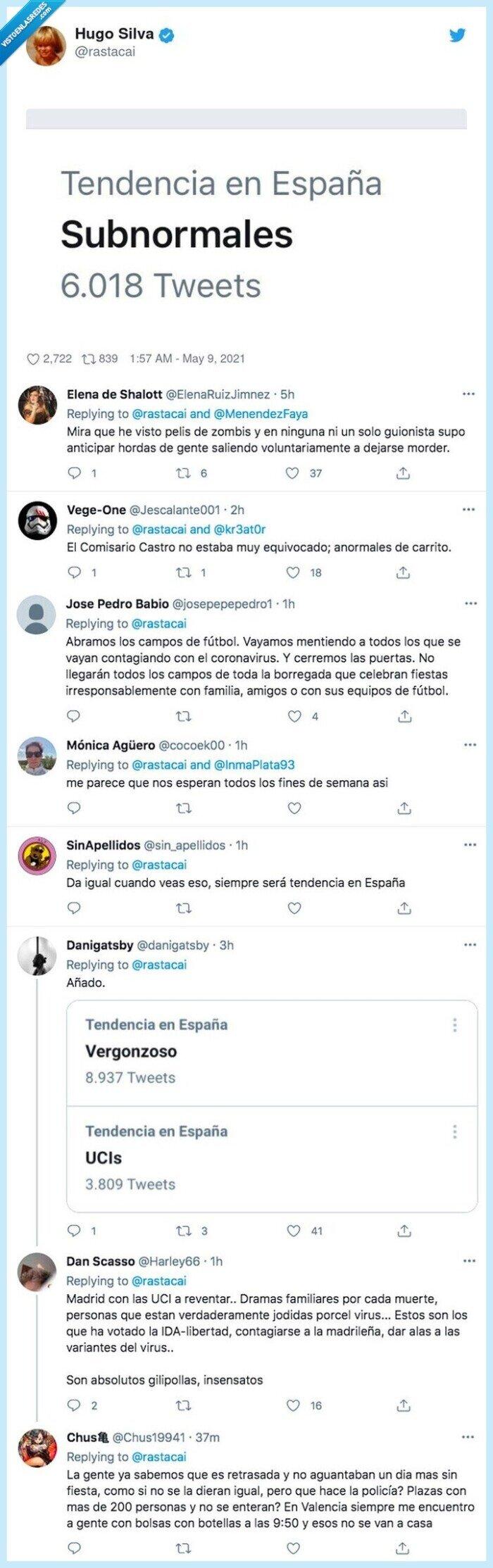 coronavirus,españa,subnormales,toque de queda,trending topic