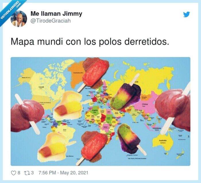 derretidos,mapa mundi,polos