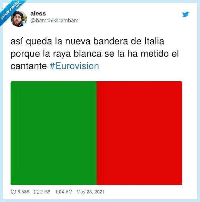 #eurovision,bandera,blanca,cantante,italia,raya