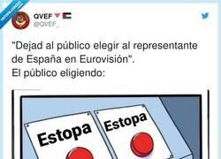 Enlace a Estopa no puede ir porque lo haría demasiado bien. España tiene unos niveles de ridículo que mantener en Eurovisión, por @QVEF_