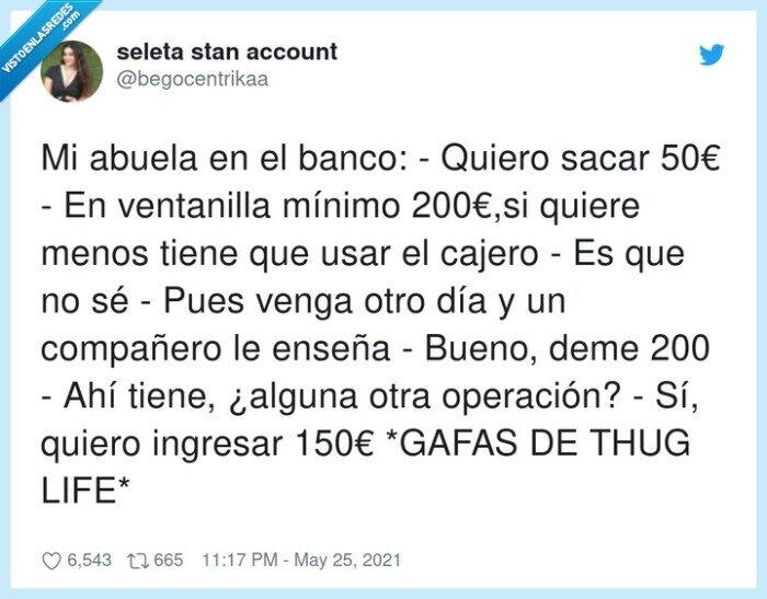 200€,abuela,banco,cajera,ingresar,operación,ventanilla