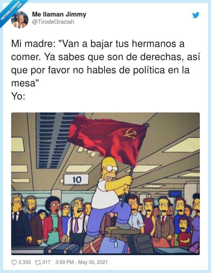 comida,comunismo,derechas,hermanos,política