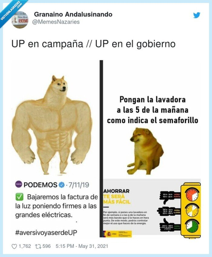 campaña,cheems,doge,gobierno,luz,podemos,subida,up