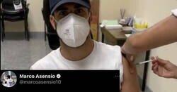 Enlace a Asensio sube una foto de cómo lo vacunan, y ojo a la diferencia de comentarios entre twiter e instagram, por @Prawlitox