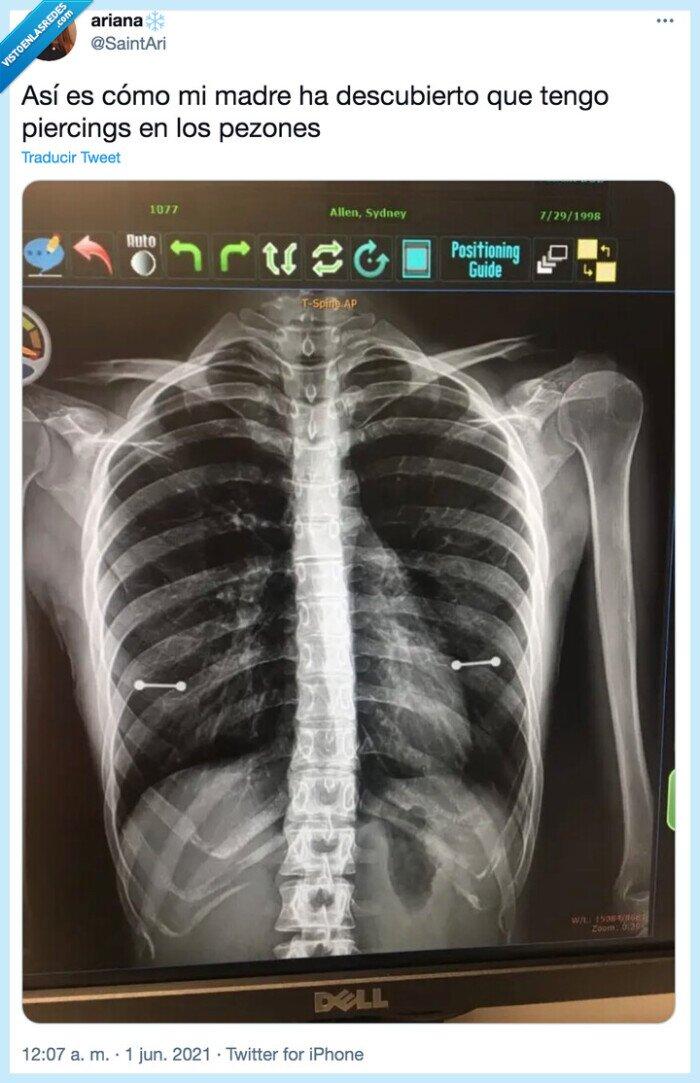 pezones,piercing,radiografía