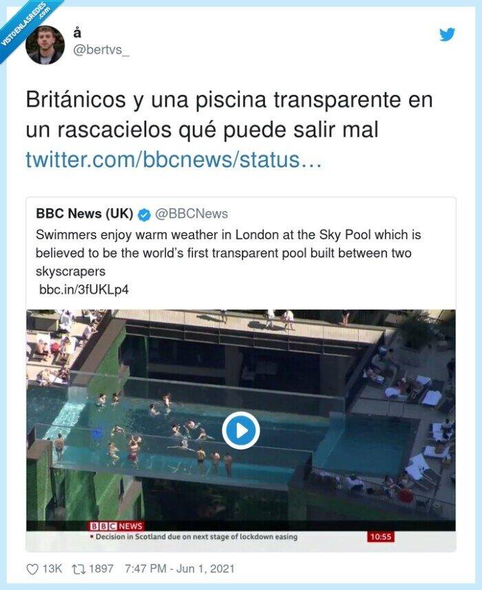británicos,piscina,rascacielos,transparente