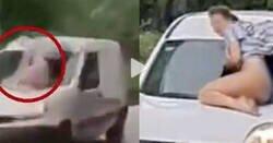 Enlace a Las brutales imágenes de una mujer que viaja en el capó de un coche para evitar que su pareja se vaya