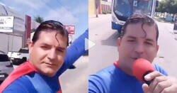 Enlace a Un hombre disfrazado de Superman intenta parar un autobús con la mano y acaba estampándose contra él por @PaseroRamon