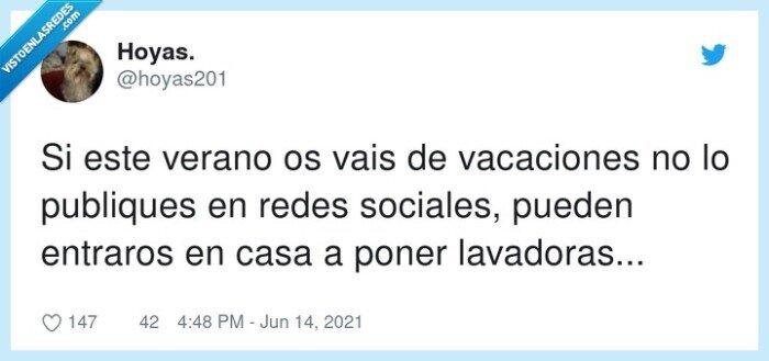 lavadoras,publicar,redes sociales,vacaciones,verano