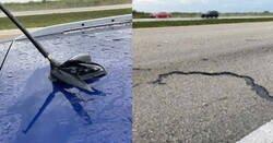 Enlace a Un rayo atraviesa un coche y provoca una enorme grieta en el asfalto, por @FHPSWFL