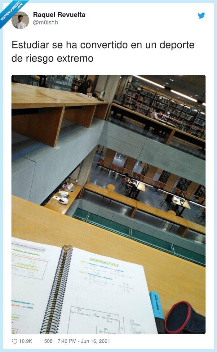 biblioteca,deporte,estudiar,extremo,riesgo,seguridad,vacío