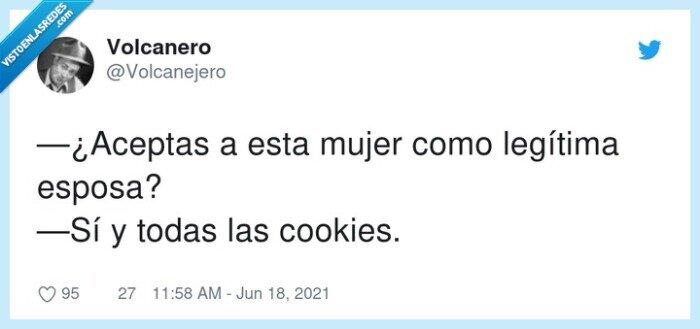 aceptar,cookies,esposa,legítima,mujer