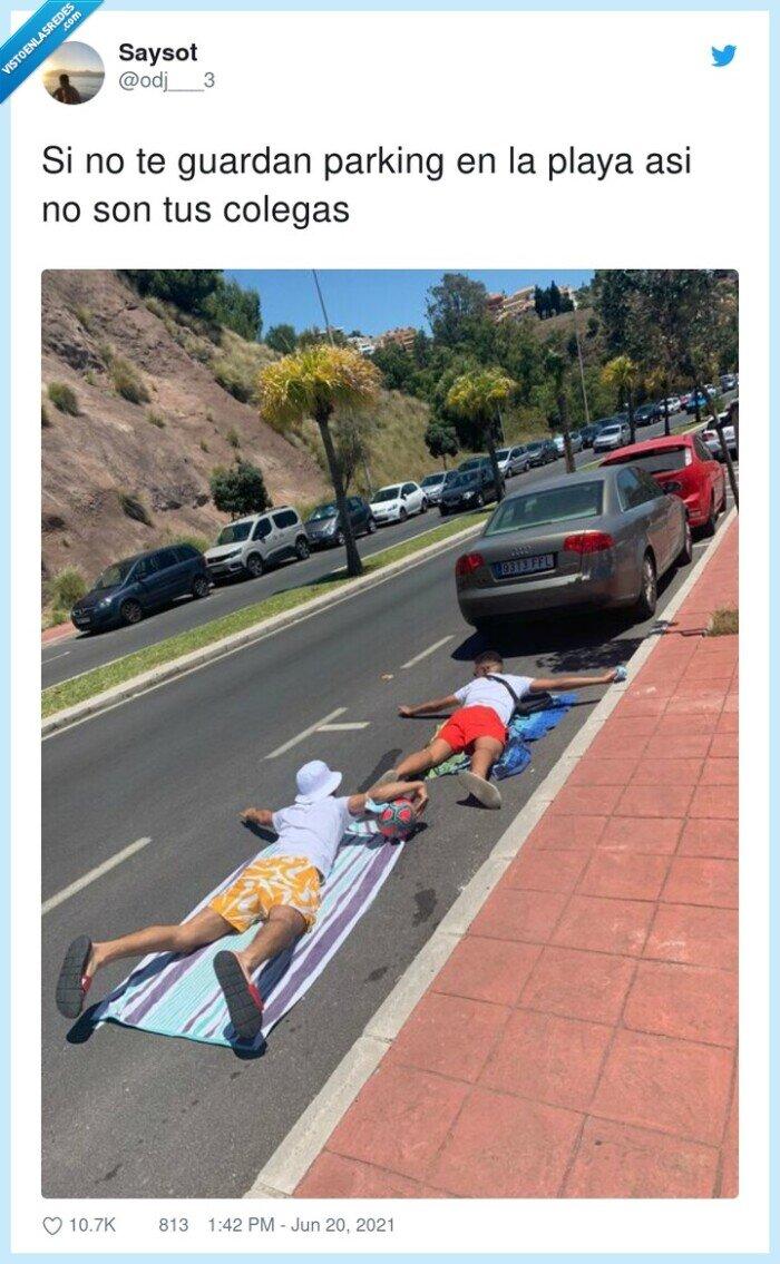 colegas,guardar,parking,playa