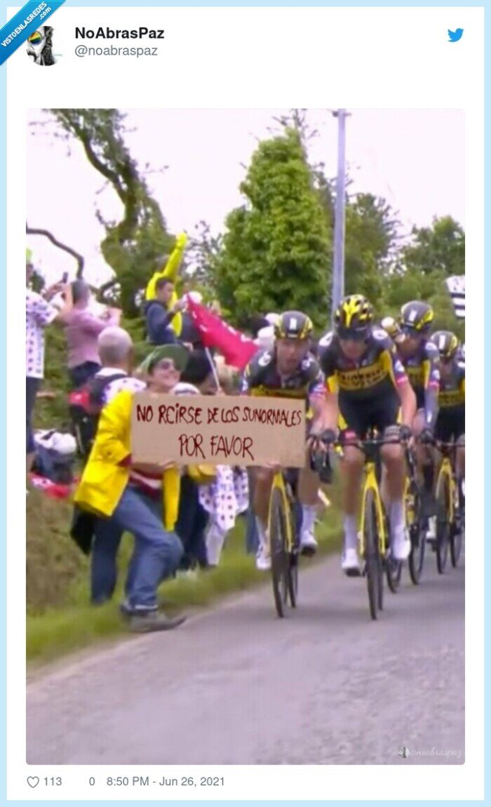 caída,ciclistas,domingueros,pancarta,tour de francia